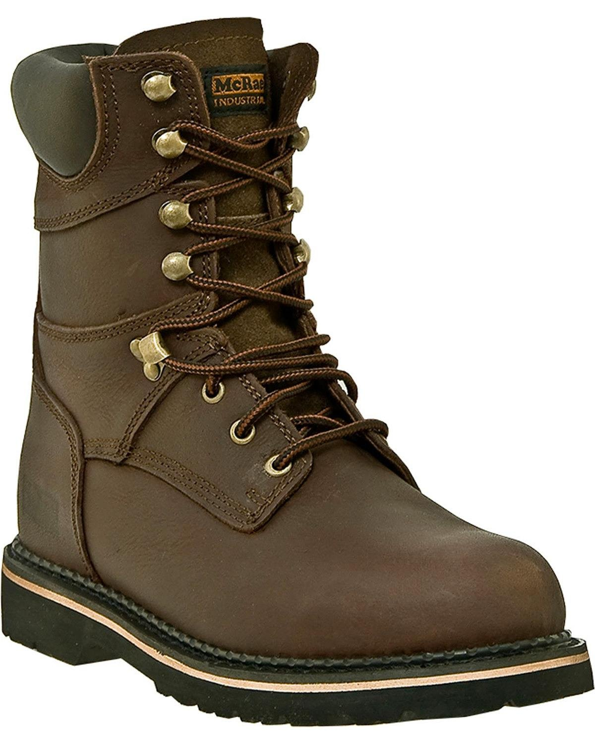 Men's McRae Industrial 8'' Safety Toe Lace-up Boots, Dark Brown, 16 2E