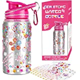 Jamal Decorate & Personalize Your Own Water Bottles for Girls with Tons of Rhinestone Glitter Gem Stickers! Reusable, BPA Free 20 oz Kids Water Bottle for Girl, Fun DIY Art and Craft for Children