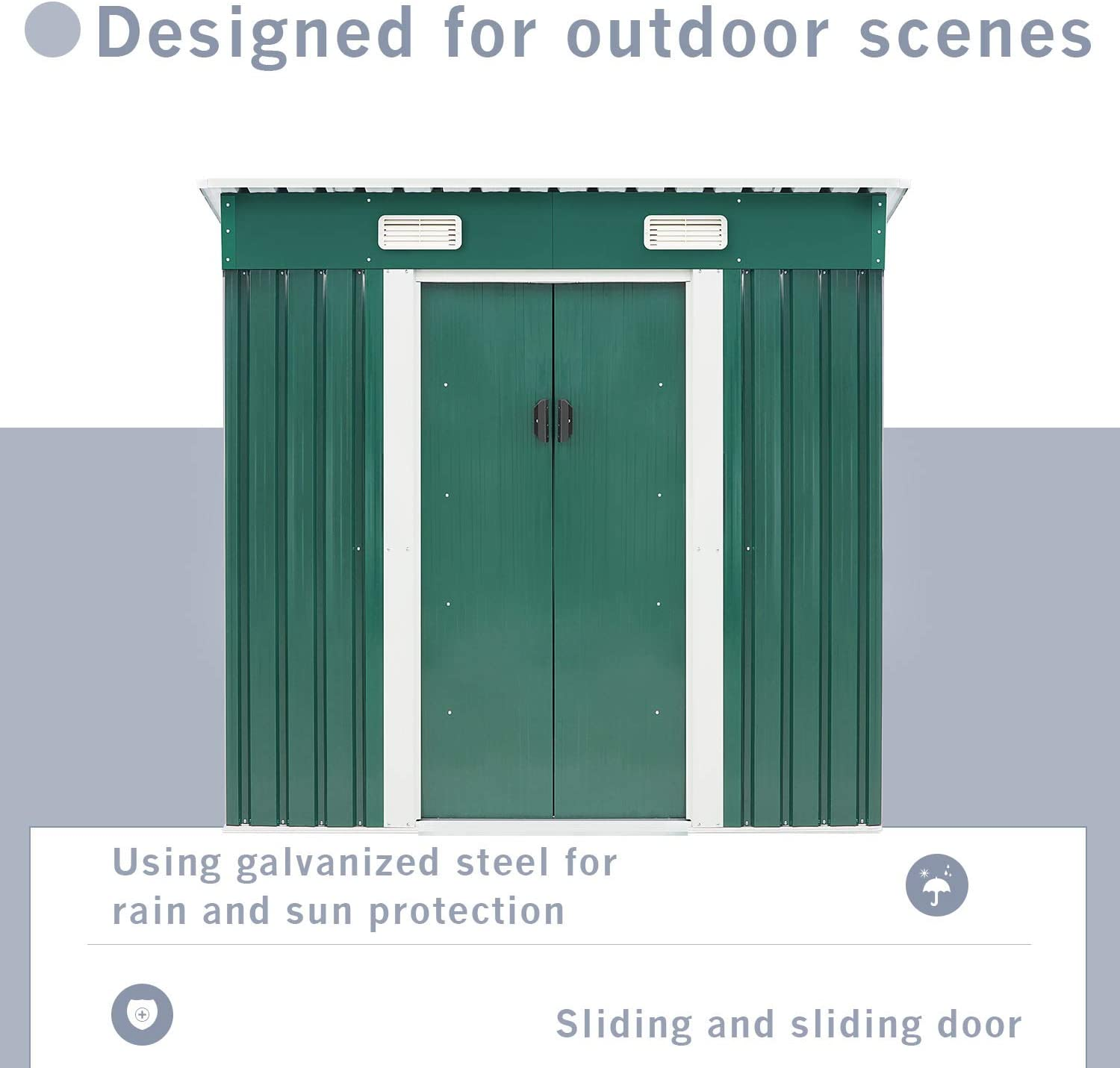 Green SUNCROWN Outdoor Garden Storage Shed 4X6 FT Yard Storage Tool with Sliding Door for Backyard
