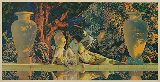 Maxfield Parrish Women by Waterfall  11 x 15