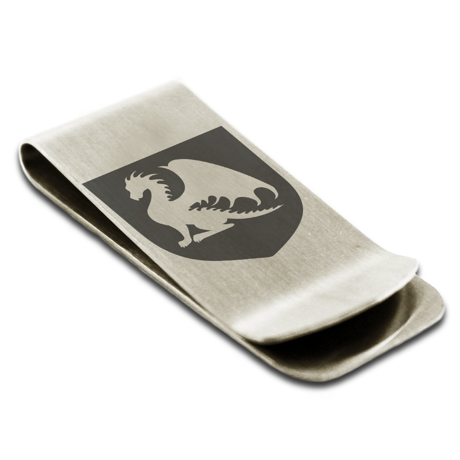 Stainless Steel Dragon Guardian Coat of Arms Shield Symbol Engraved Money Clip Credit Card Holder
