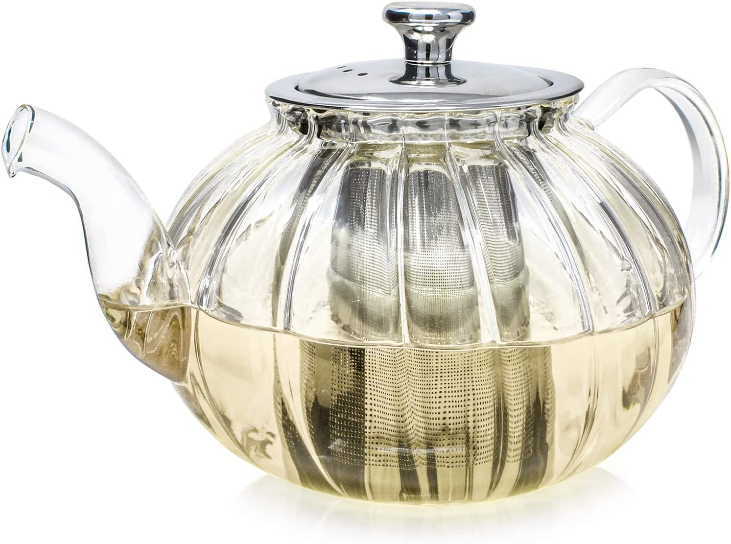 Teabloom Vienna Glass Teapot – Fine Borosilicate Glass – Stovetop Safe Kettle – 30 oz. / 900 ml (2-3 Cups) – Tea for Two – Removable Stainless Infuser – Perfect for Loose Leaf Tea