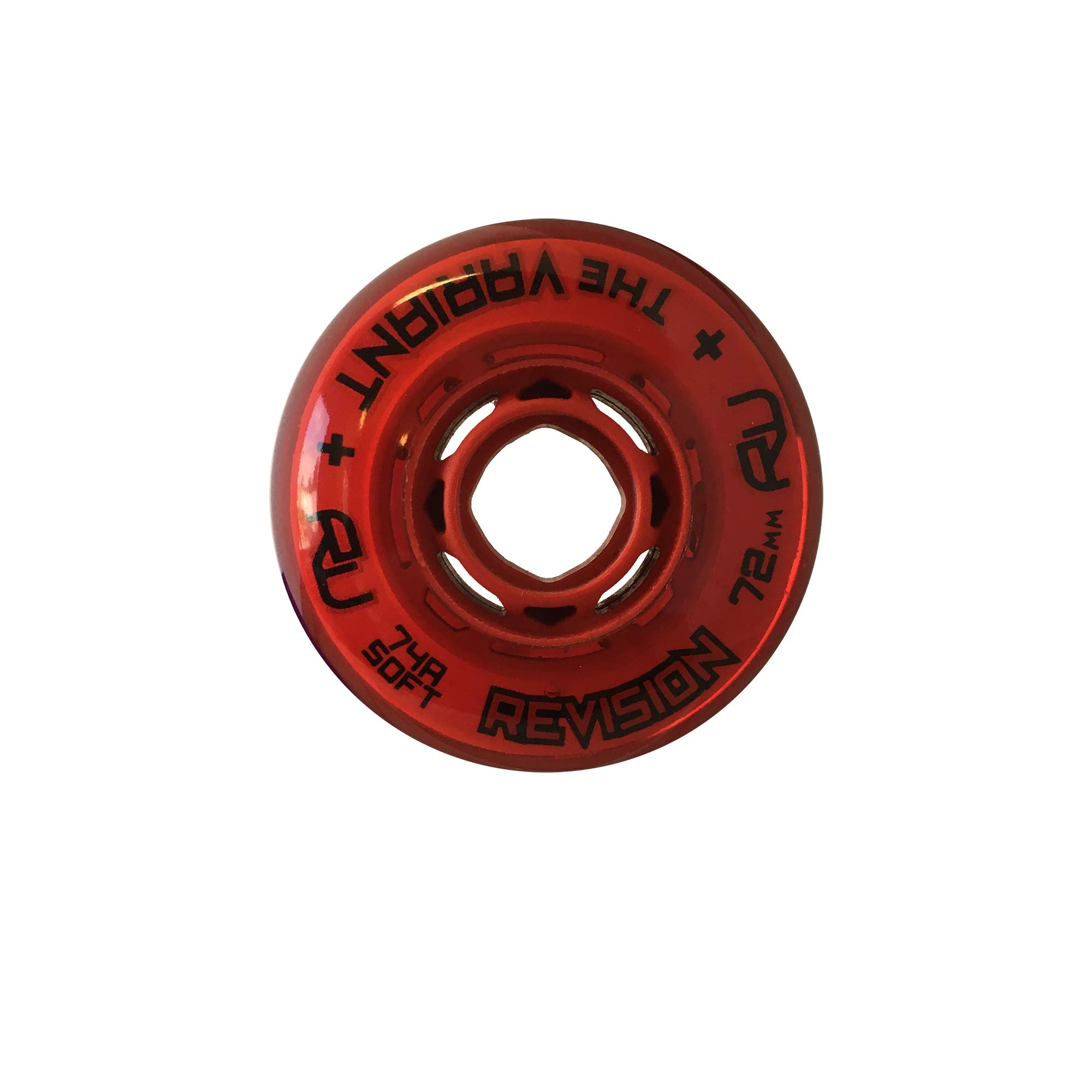 Revision Variant Indoor Inline Roller Hockey Wheel - 74A - 72mm Soft - Red by Revision Hockey