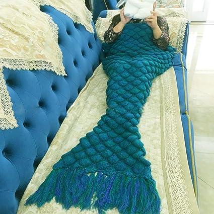 Manta de punto con diseño de cola de sirena, escamas de ganchillo, patrón para