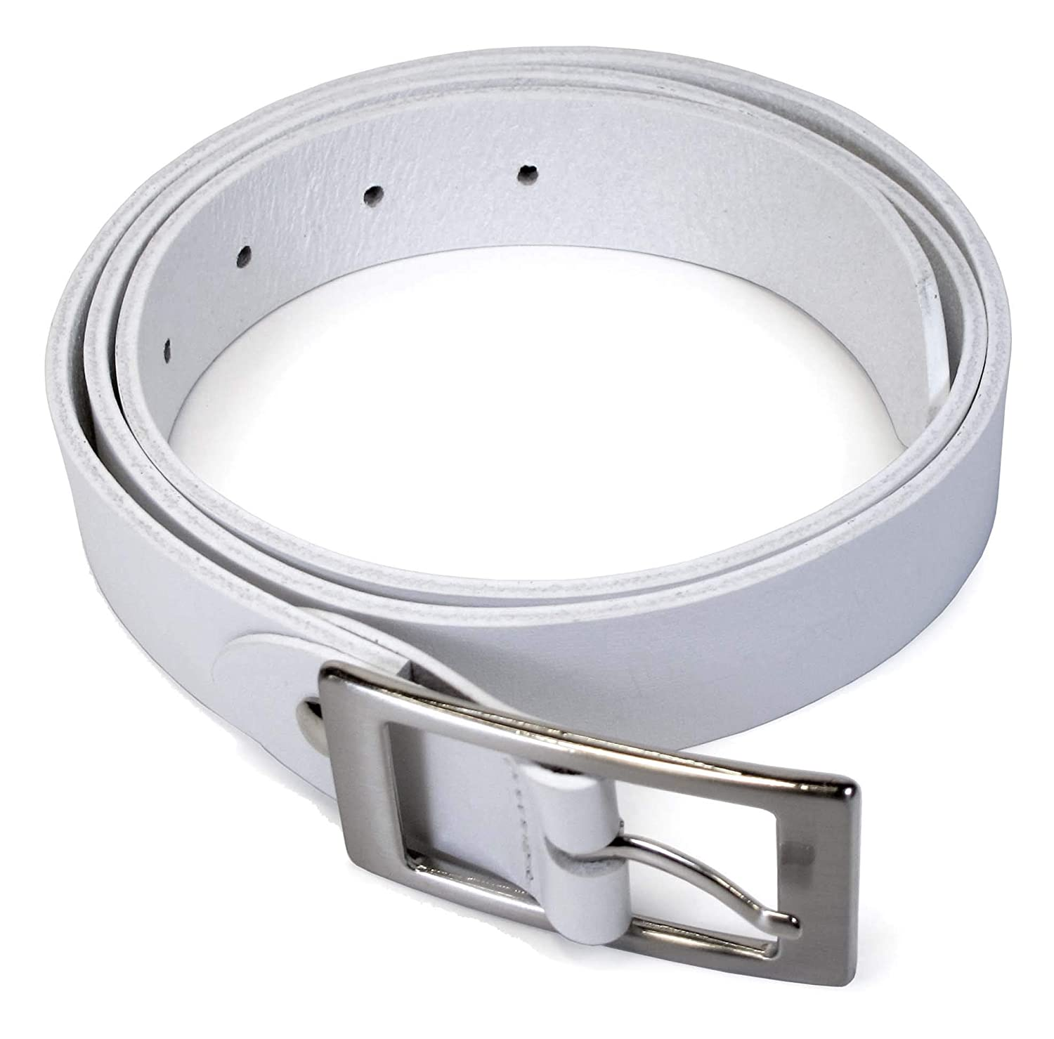 Mens Real Genuine Leather White Belt 1.1 Wide S-L Thick Long Casual Jeans CM0