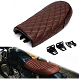 Triclicks Universal Motorcycle Retro Diamond Flat Brat Style Cafe Racer Seat for Honda CB CL Retro Yamaha SR XJ Suzuki GS (Brown)