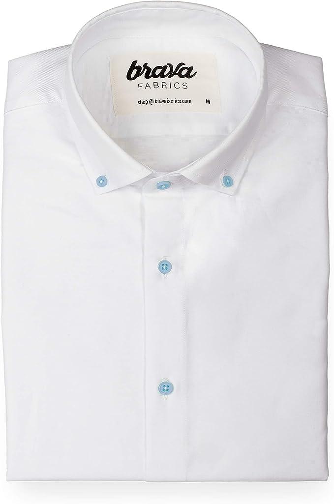 Brava Fabrics | Camisa Hombre Manga Corta Estampada | Camisa Blanca para Hombre | Camisa Casual Regular Fit | 100% Algodón | Modelo Linen Santorini Essential: Amazon.es: Ropa y accesorios