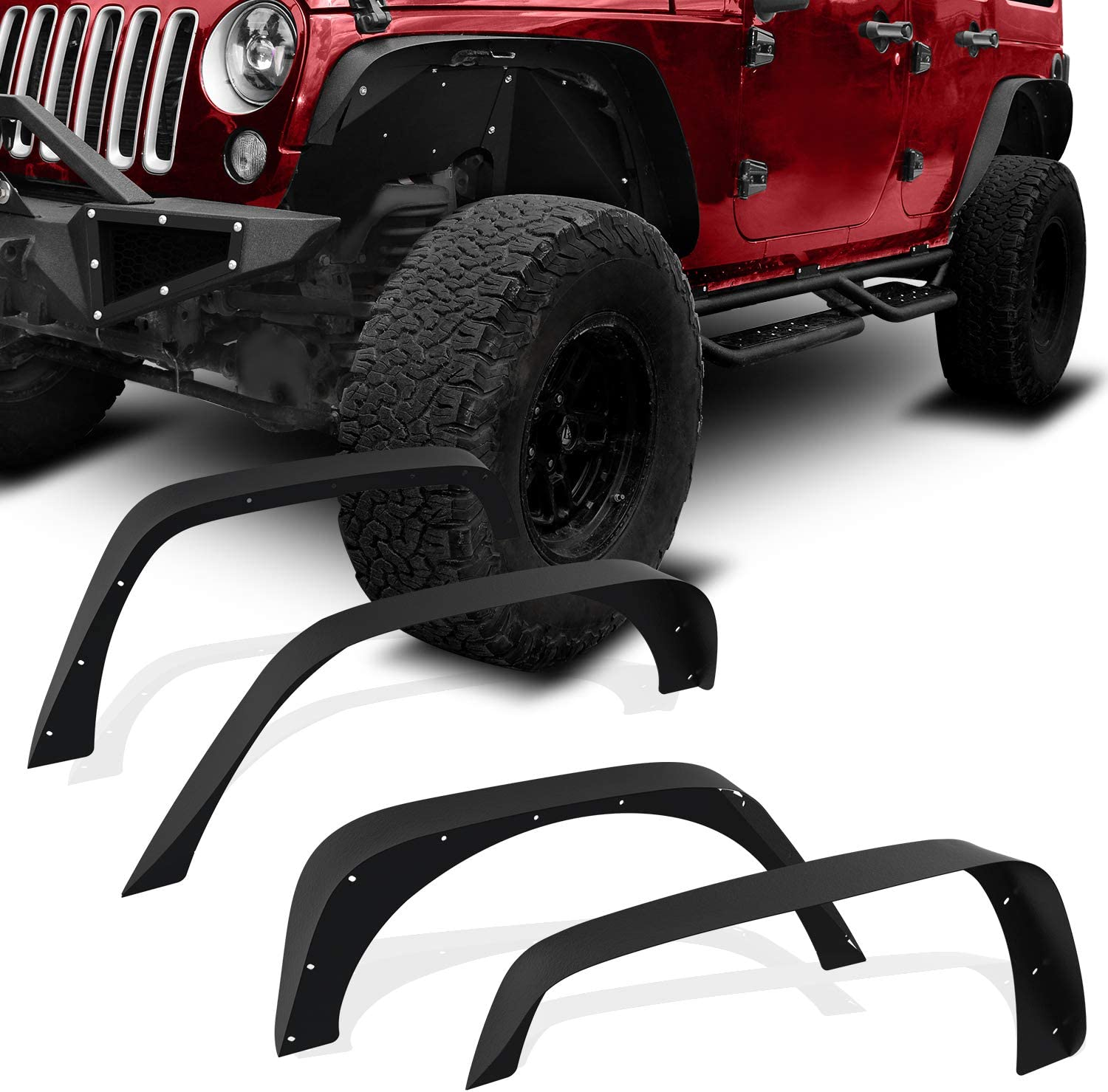 YITAMOTOR Steel Fender Flares Kit Compatible for 2007-2018 Jeep ...