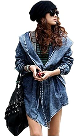 Women's Denim Trench Coat Hoodie Outerwear Hooded Jeans Coat ...
