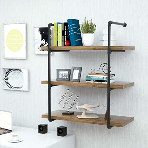 Mecor Industrial Wall Shelf 3-Tier Boards Included, Wall Mount Iron Pipe Shelves, Wood and Metal Frame Wall Bookcase