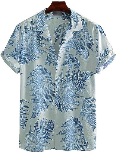 Outwears Hombres de Manga Corta Solapa Impreso Camisa ...