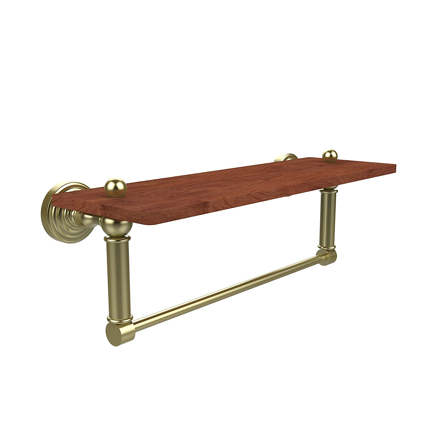 Satin Brass 16 in. Allied Brass Waverly Place Collection 16 Inch Solid IPE Ironwood Shelf with Integrated Towel Bar, WP-1-16TB-IRW-PNI