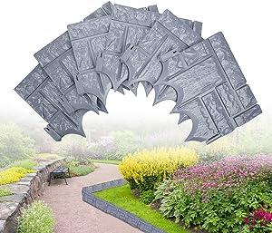 DricRoda Garden Edging, 6pcs Plants Border Landscape Edging Plastic Fence Panel, Cobbled Stone Style Landscape Decor Edging for Lawn Yard Garden (Grey)