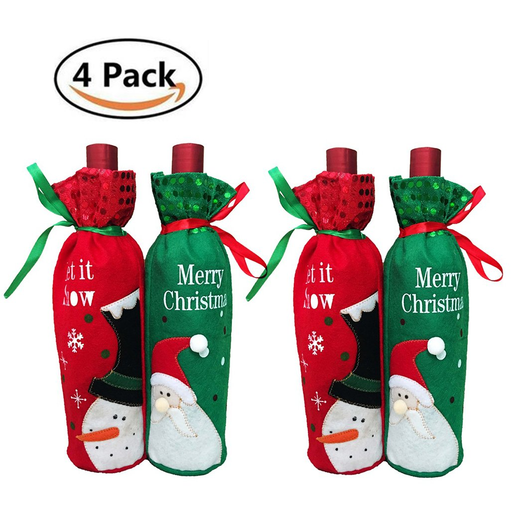 HÖTER Wine Cover Bag Xmas Restaurant Home Party Decoration Novelty Red Green Bottle Topper Christmas Gift-Set of 4