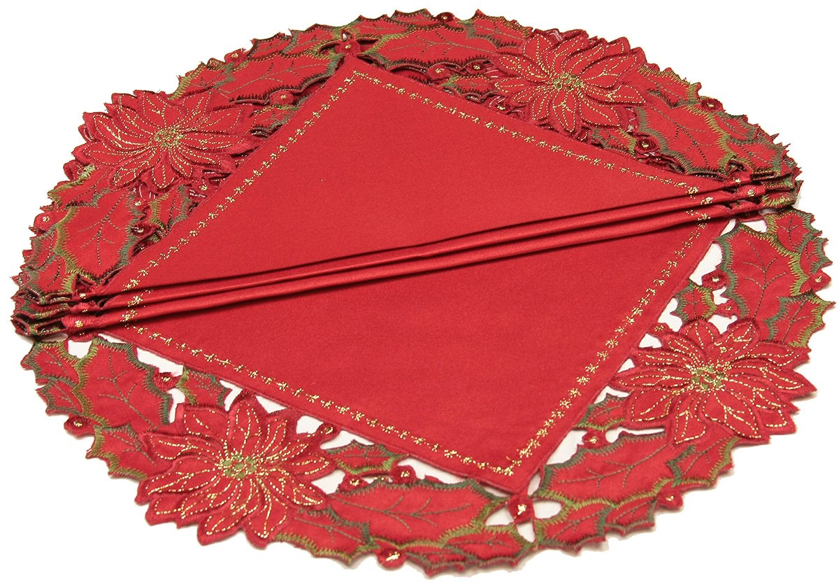 Xia Home Fashions Round Holiday Spirit Embroidered Cutwork Christmas Doilies, 12-Inch, Set of 4