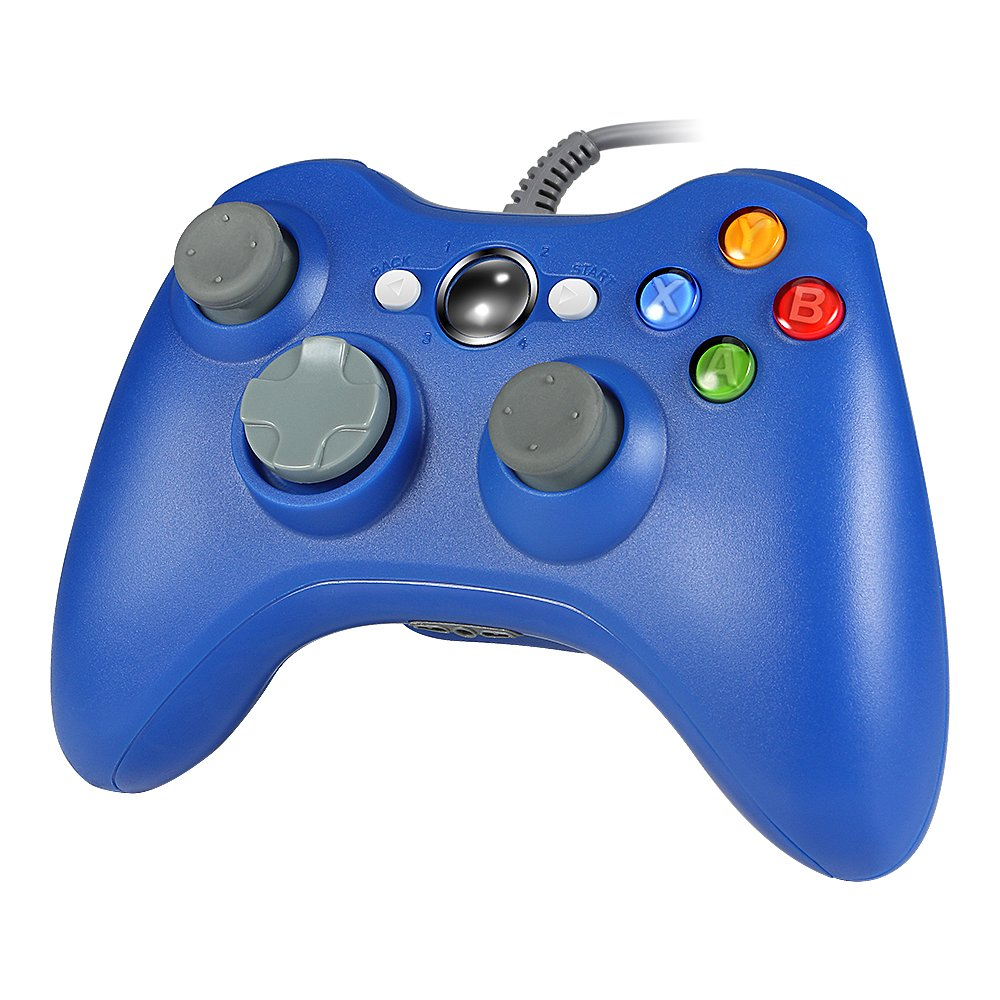 Wired PC Controller, Wetoph GD03 USB Gamepad with Headset slot For Xbox 360 and PC(Windows XP/7/8/10)(Blue) by Wetoph