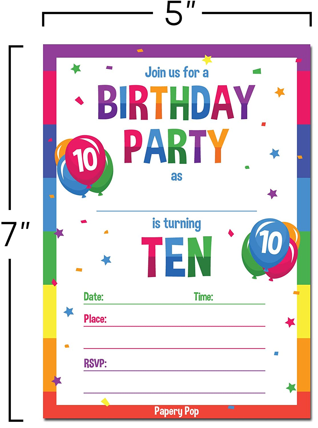 Amazon.com: 10th Birthday Party Invitations with Envelopes (15 Count ...