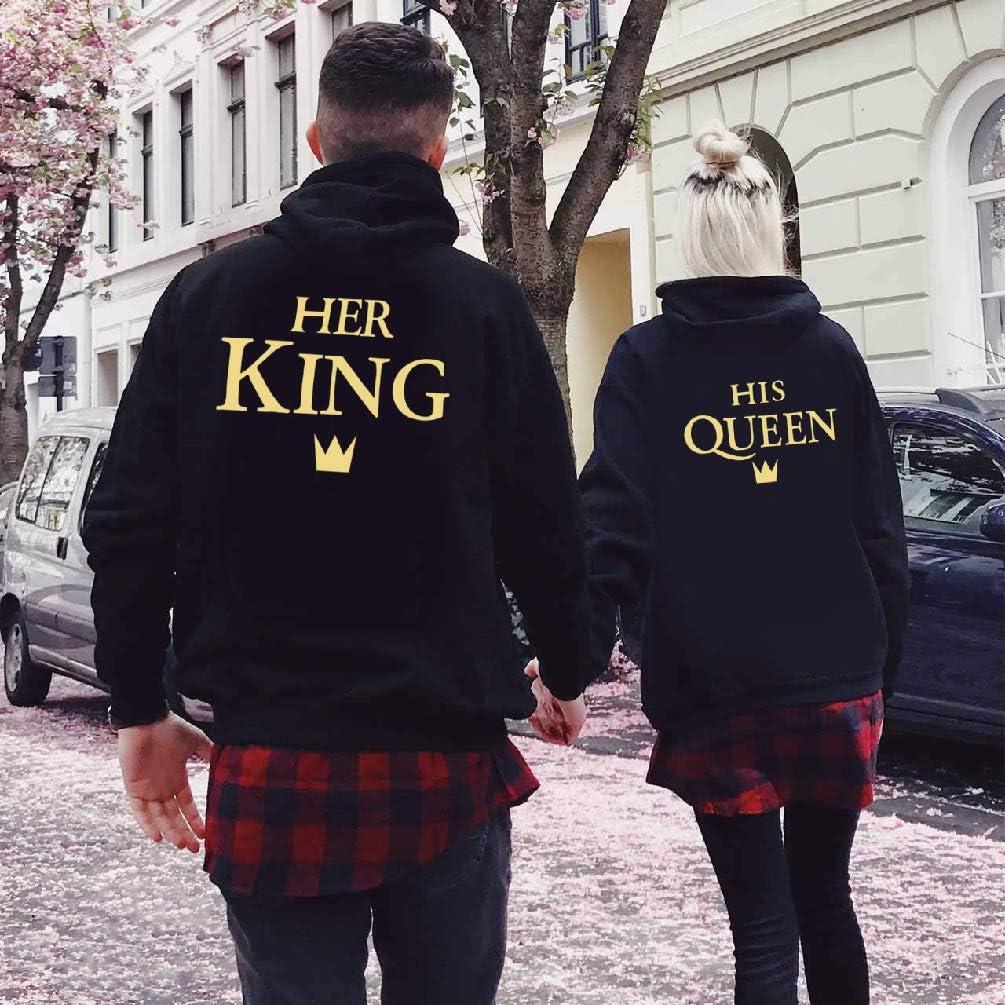 King Queen Couple Sweat /à Capuche Roi Reine Hoodies Couple Sweatshirt /À Capuche Femme Homme Couple Pull Manches Longues Couple Cadeau Vetement Noir Blanc Gris 1 Pi/èce