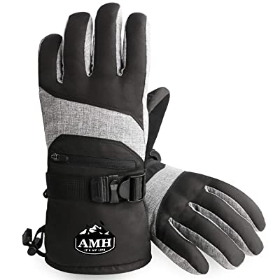 AMH Ski & Snowboard Men & Women Gloves Winter Warm 3M Thinsulate Waterproof Cold Weather Gloves