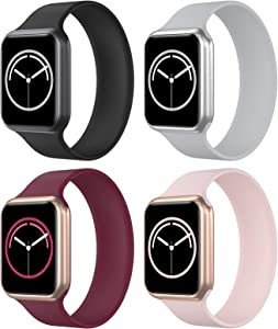 KRISVI Pack 4 Sport Bands Compatible with Apple Watch Bands 38mm 40mm, Stretchable Apple Watch Solo Loop with No Clasps or Buckles for Men Women iWatch Series 6 5 4 3 2 1 SE(38M-5)