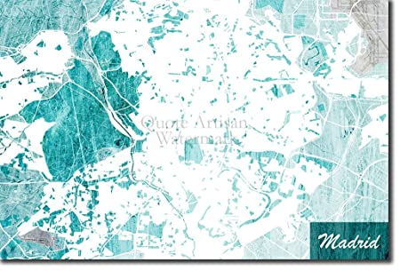 The Pop Culture King Madrid, Spain Original Map Design Blue ...
