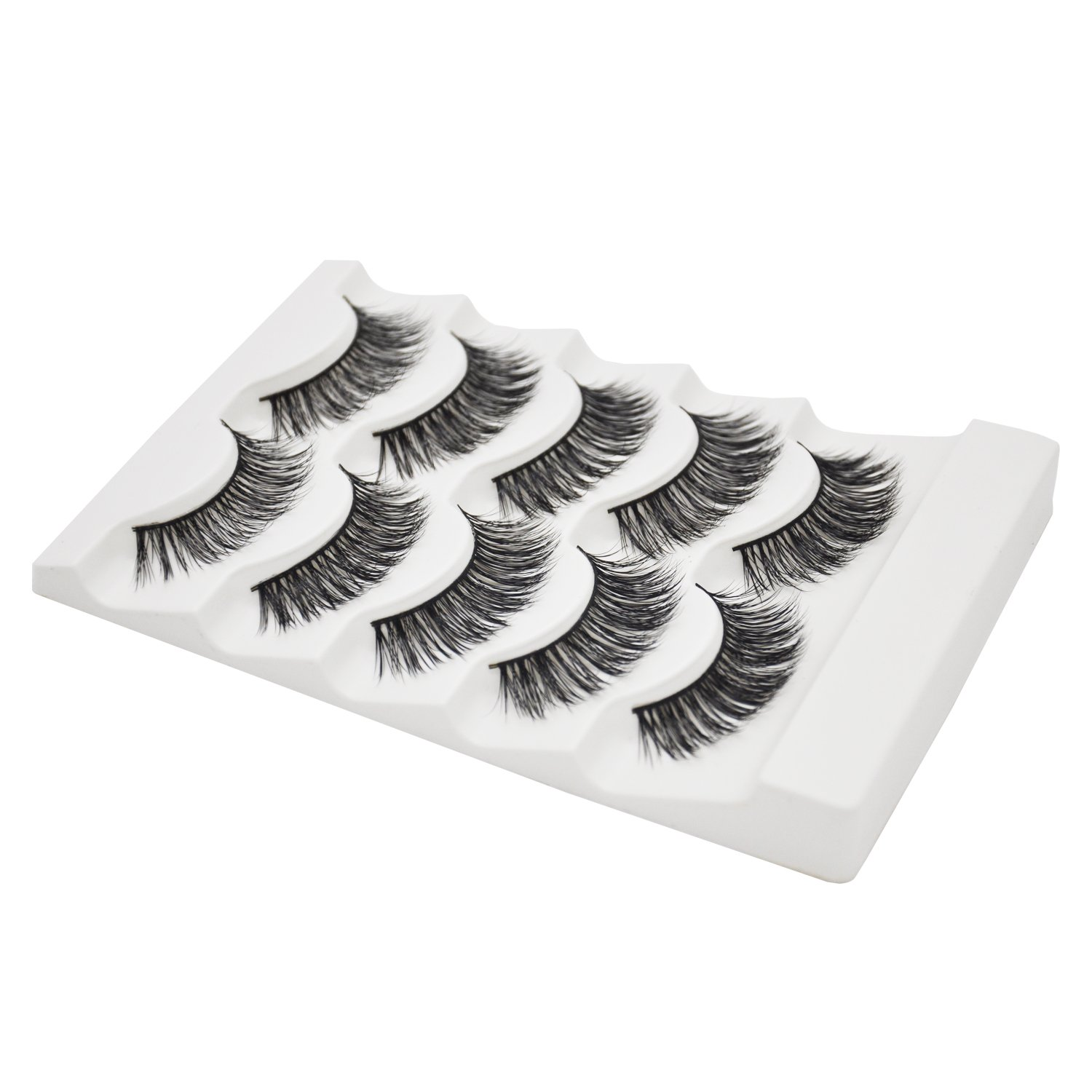 3D Fur Mink Eyelashes Natural Long Make up Messy Flirty Fake Lashes Curly Lightweight False Eyelashes for Women 5 Pairs/Box