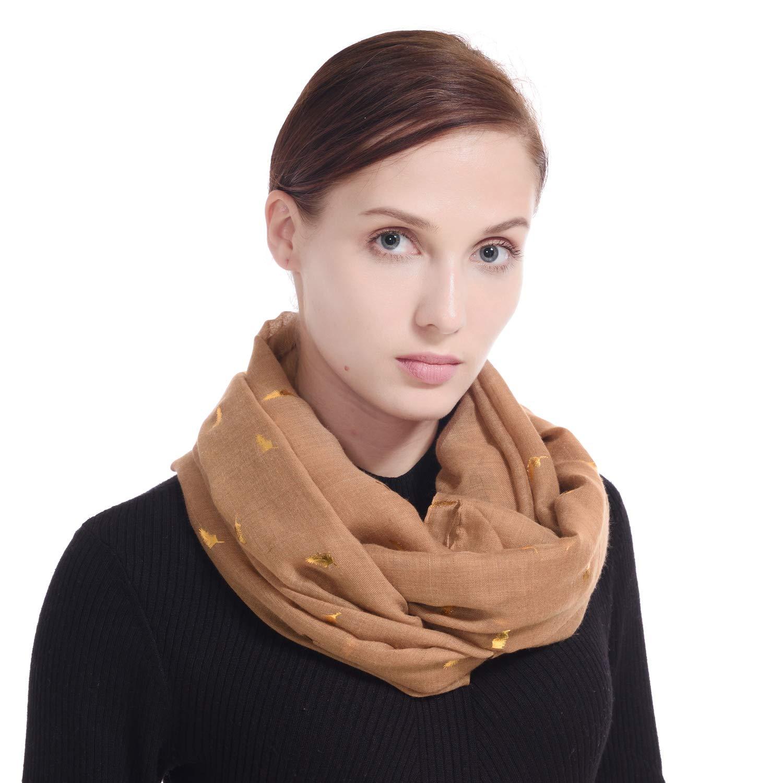 LERDU Ladies Gift Idea Scarf Shawls Gold Feather Print Pashmina Wraps for Women LERDU Scarves & Accessories SC180027-2
