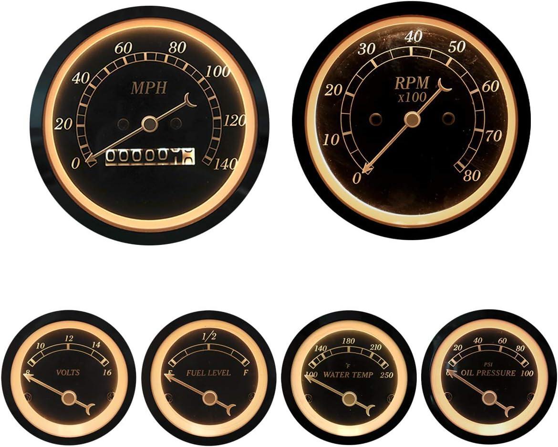 MOTOR METER RACING 6 Gauge Set Classic Instruments Electronic Speedometer Digital Odometer Black Dial