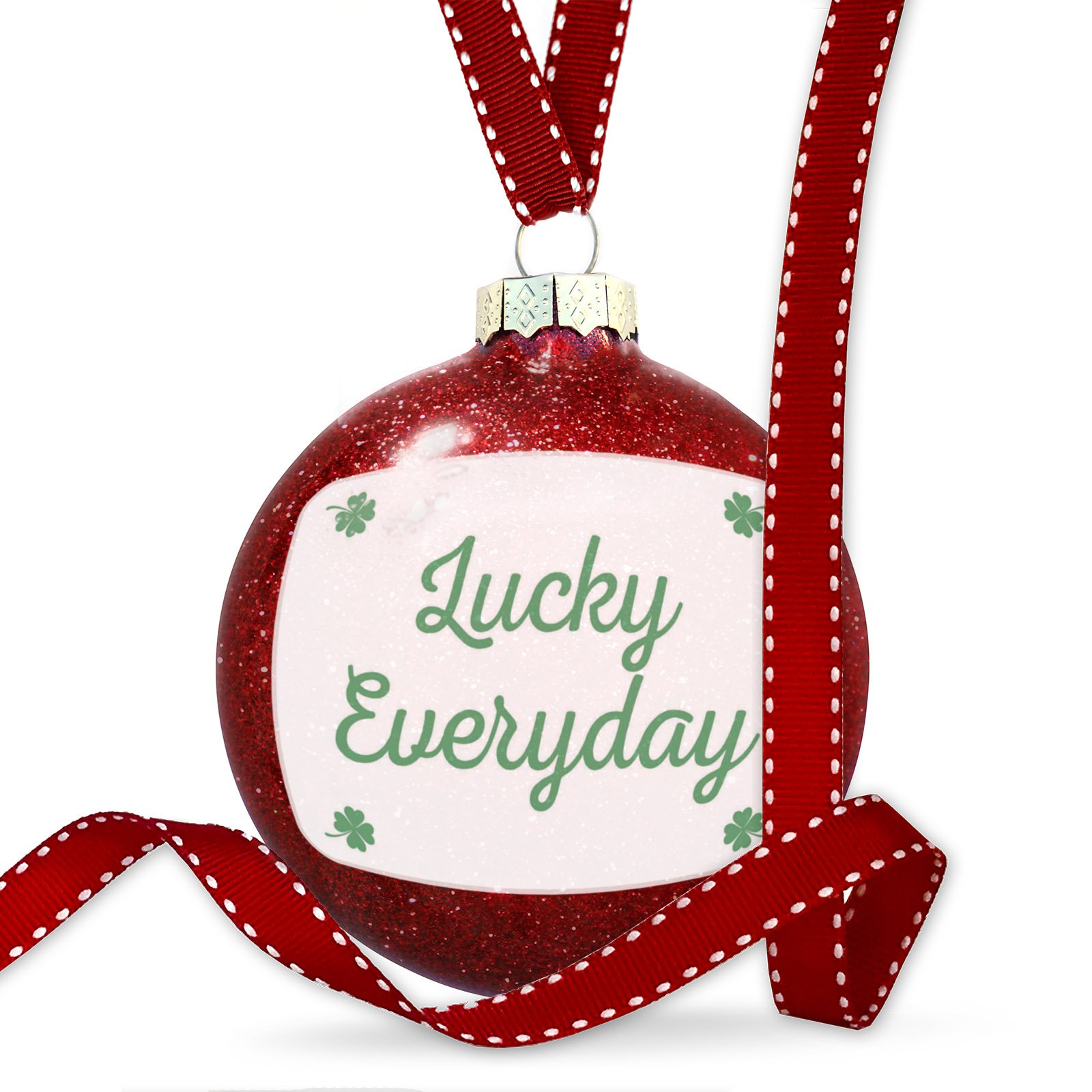 Christmas Decoration Lucky Everyday St. Patrick's Day Simple Four Leaf Clovers Ornament by NEONBLOND