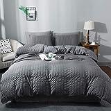 AveLom Seersucker Duvet Cover Set Queen Size (90 x 90 inches), 3 Pieces (1 Duvet Cover + 2 Pillow Cases), Dark Gray…