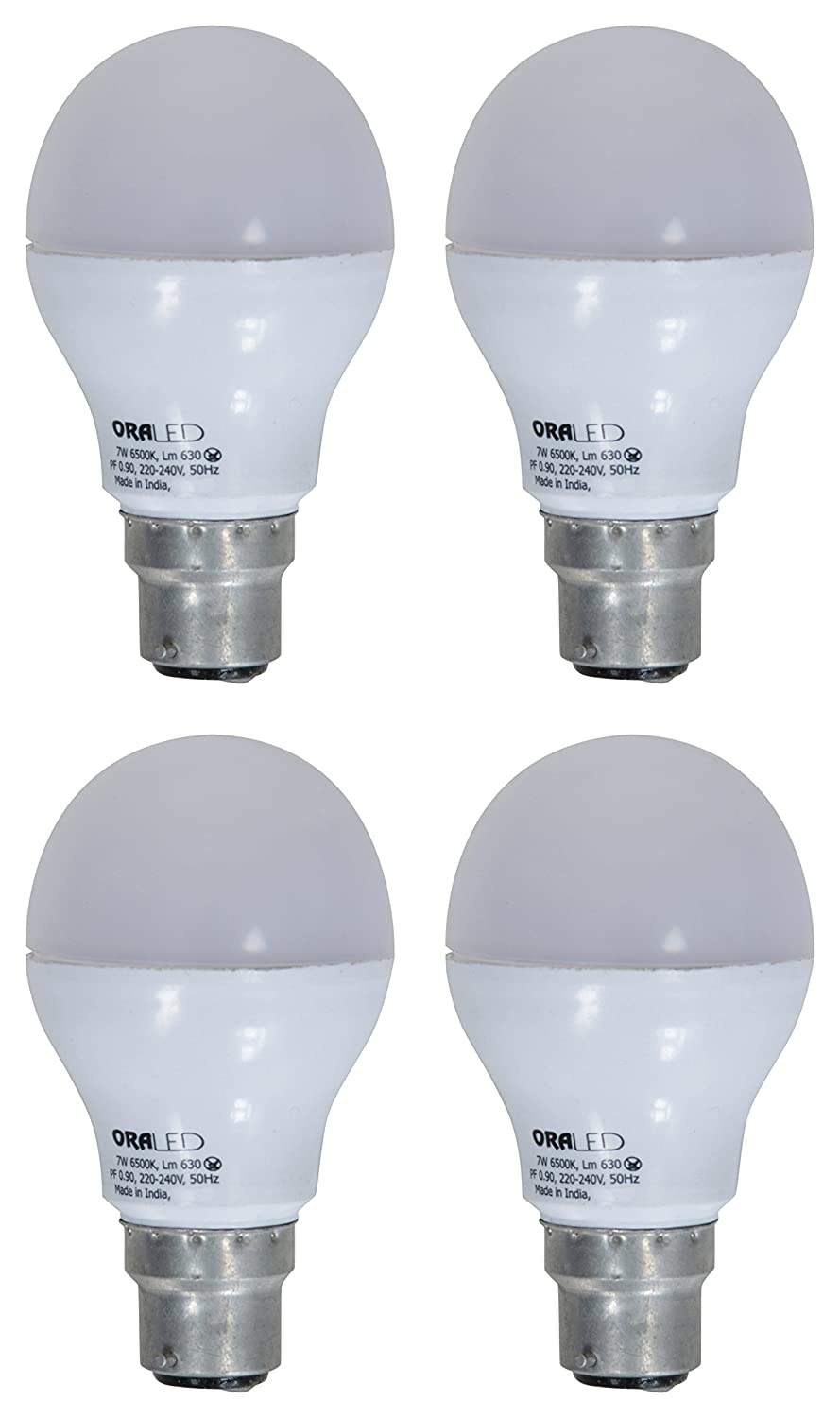 ORA 7W B22 LED Bulb (Pack of 4, Cool White) Image
