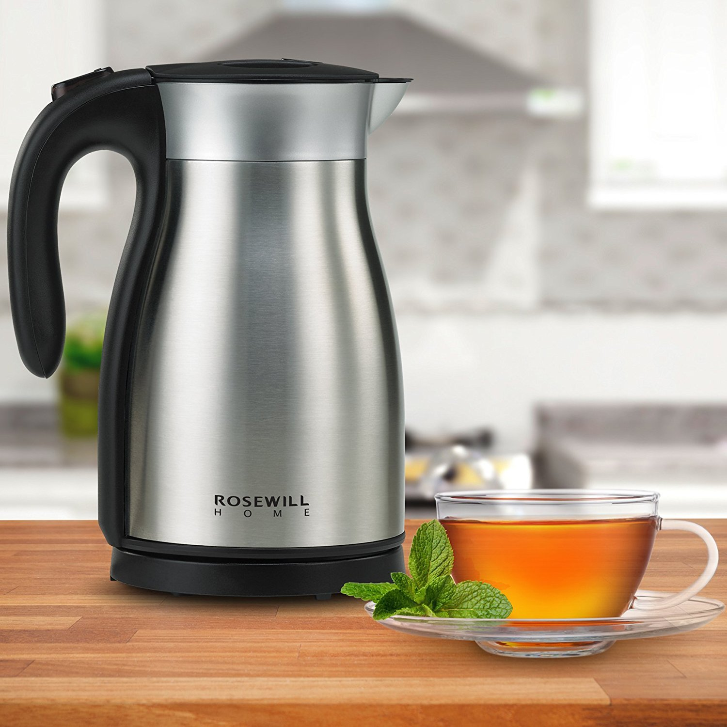 Rosewill Electric Kettle Stainless Steel Double Wall Vacuum Insulated, Keep Hot Thermal Pot, 1.7 L, 1500W, RHKT-17001