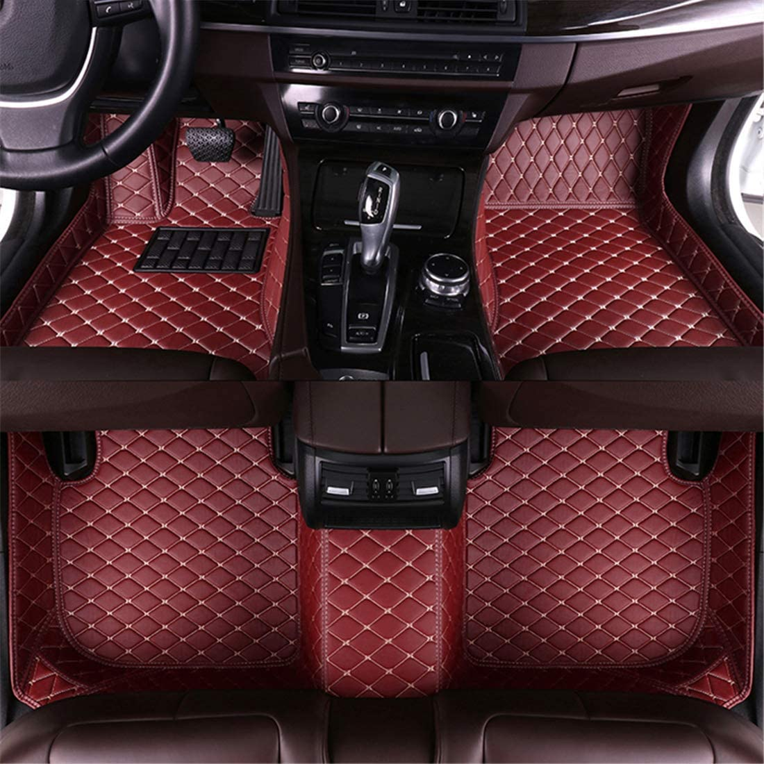Muchkey car Floor Mats fit for KIA Soul 2013-2019 Full Coverage All Weather Protection Non-Slip Leather Floor Liners Black-Red