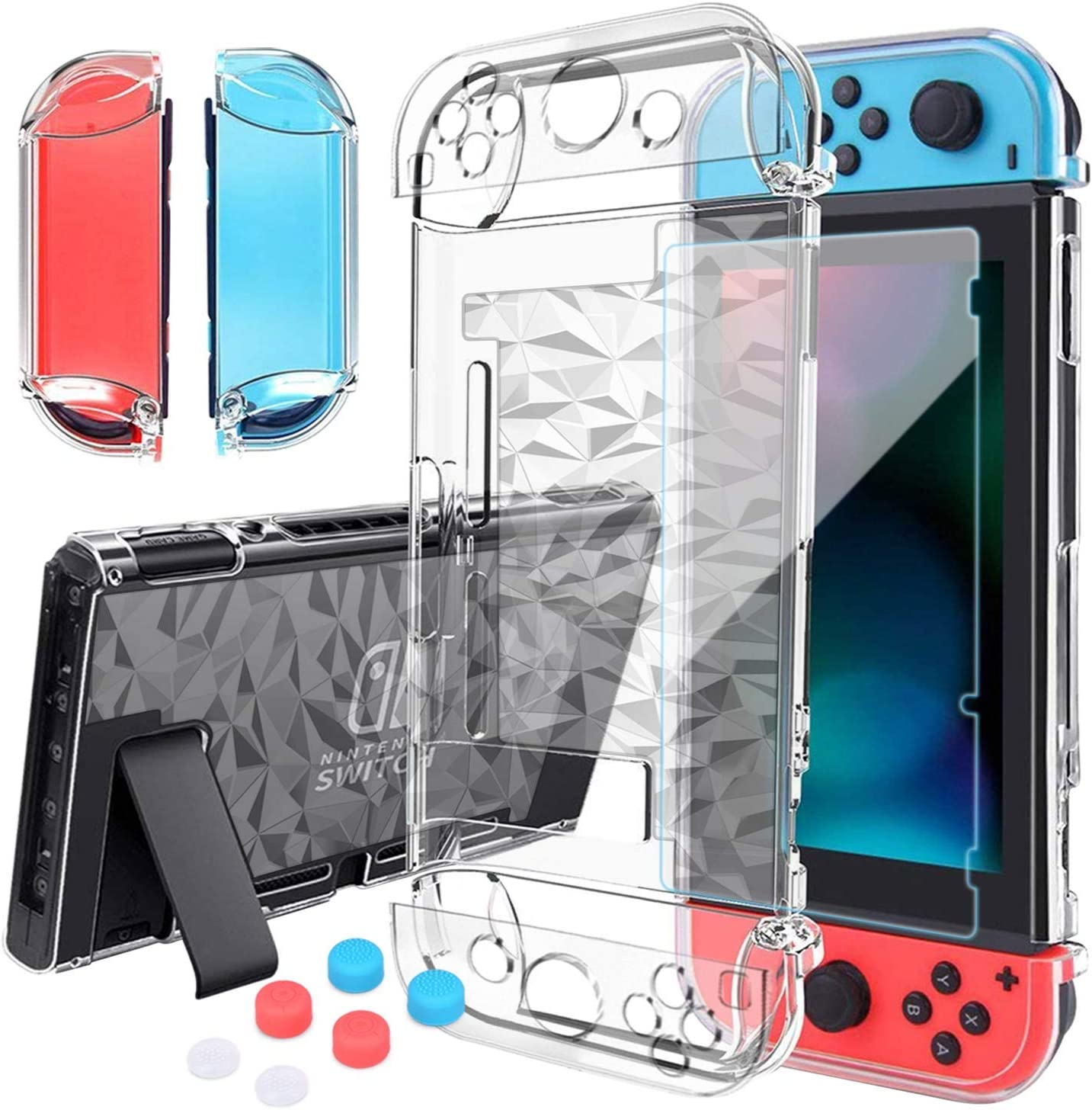 HEYSTOP Switch Case for Nintendo Switch Case Dockable with Screen Protector, Protective Case Cover for Nintendo Switch Tempered Glass Screen Protector and 6Pcs Thumb Caps