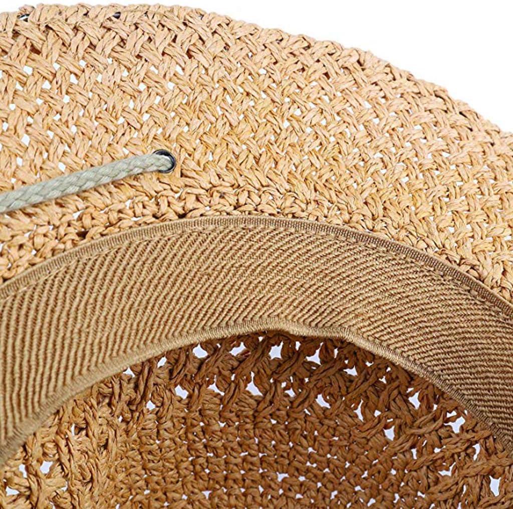 de ala Ancha Sombrero de Paja Protecci/ón Solar Gorras de Vaquero Verano Anti UV Viaje Gorras de Playa Vaquera Occidental Sombrero de arbusto moldeable certylu Sombrero Diario