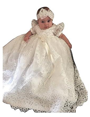 dressvip Baby Mädchen-Spitze bördelt Säuglingskleinkind -Weiß ...