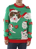 Men's Crazy Cat Man Ugly Christmas Sweater by Tipsy Elves