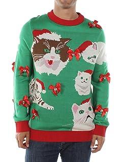 Amazoncom Tipsy Elves Mens Ugly Christmas Sweater Black Cat