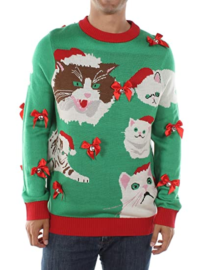 Tipsy Elves Mens Crazy Cat Man Ugly Christmas Sweater Funny Cat