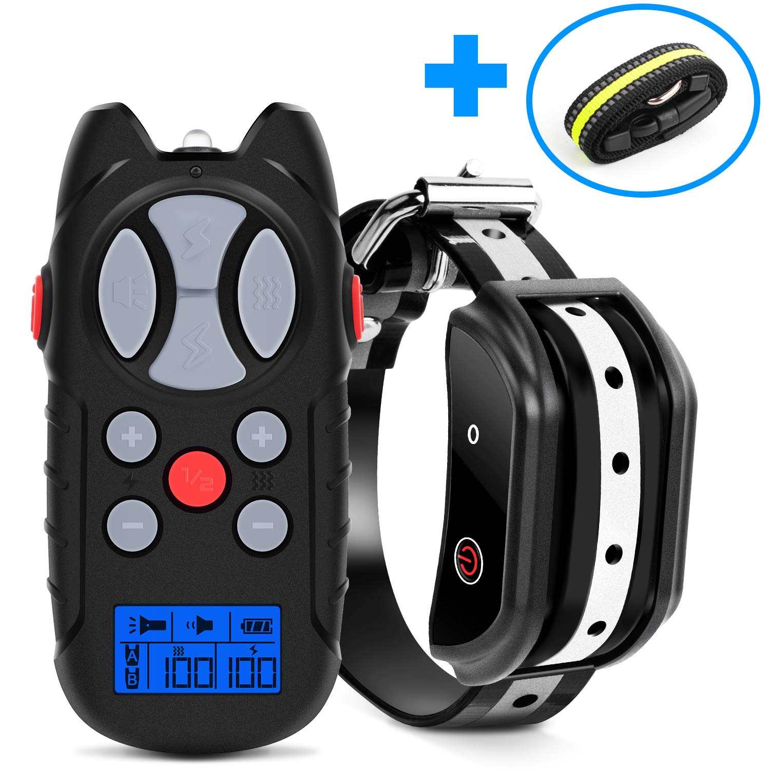 Shock Collar for Dogs, 2019 Newest Flittor Dog training Collar, Rechargeable Dog Shock Collar with Remote, 3 Modes Beep Vibration and Shock 100% Waterproof Bark Collar for Small, Medium, Large Dogs by Flittor