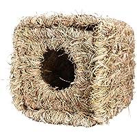 POPETPOP Rabbit Grass Hut-Bunny Hideout Rabbit Bed Natural Seagrass Toy, Hand Woven Rabbit Guinea Pig Chinchilla Ferret Hideaway
