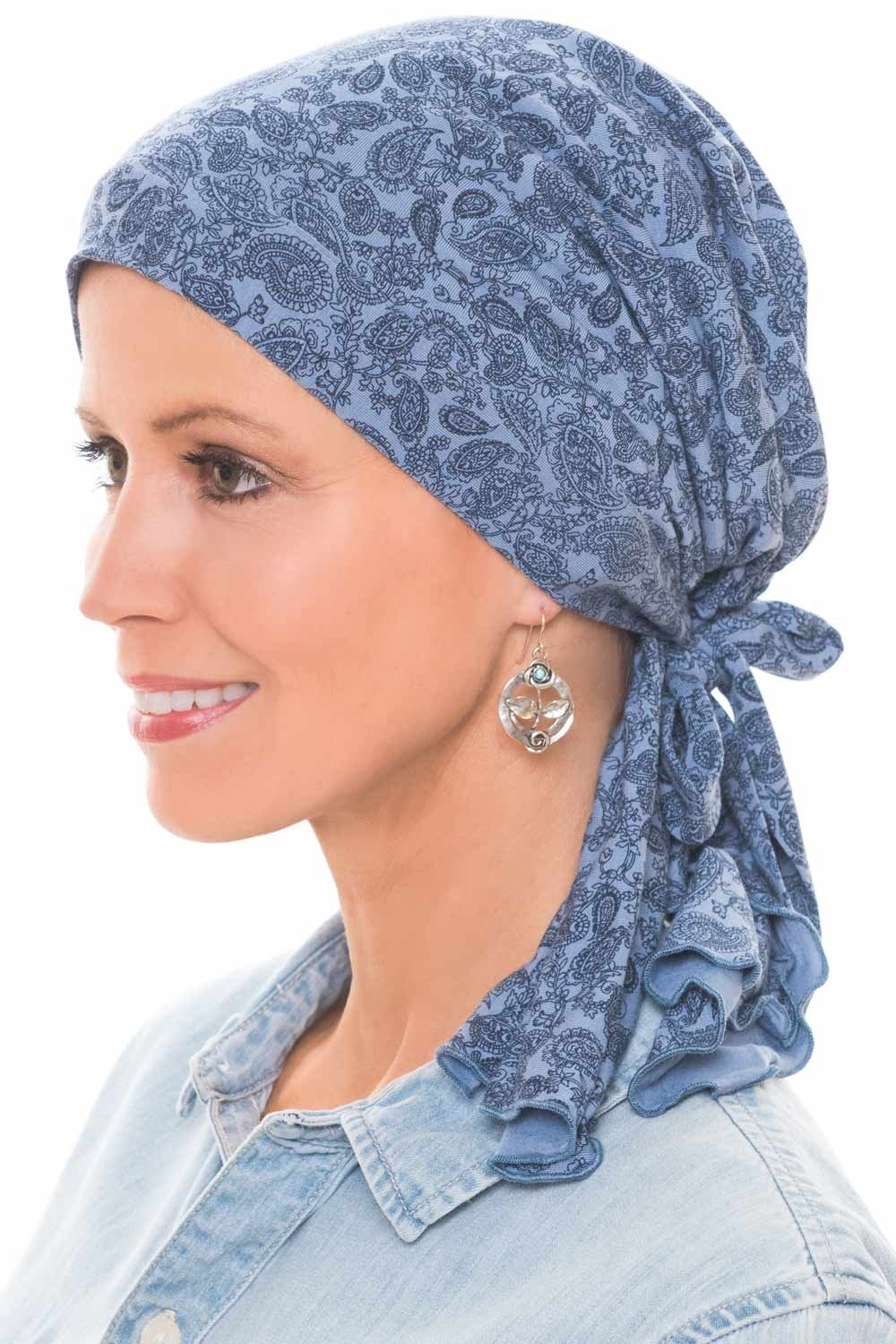 Cardani So Simple Scarf - Pre Tied Head Scarf for Women in Soft Bamboo - Cancer & Chemo Patients Luxury Bamboo - Paisley Denim/Navy