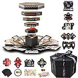 Explosion Gift Box Set Album Scrapbook DIY Photo Album Box for Birthday Anniversary Wedding (Color: Black, Tamaño: Finished box set)