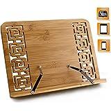 Joyoldelf BamBoo Reading Rest Cookbook Stand Holder, Foldable Tablet Cook Book Stand Bookrest with Adjustable Backing & Elegant Pattern