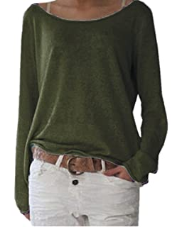 7843b4547a ZANZEA Women s Solid O Neck Long Sleeve T Shirt Casual Knit Tops Blouse  Pullover