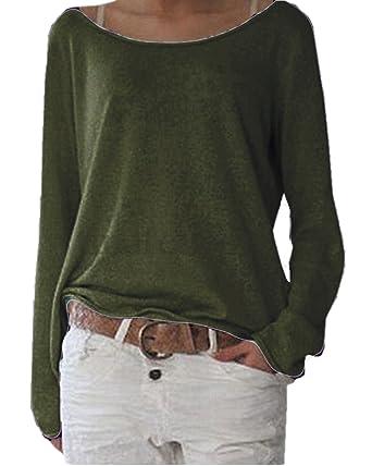 Zanzea Womens Solid O Neck Long Sleeve T Shirt Casual Knit Tops