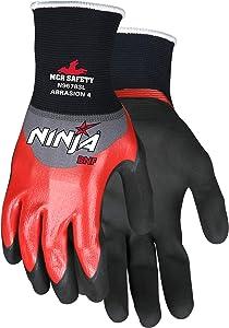 "MCR Safety N96783L Ninja BNF Nitrile Gloves, ANSI Puncture 2, Abrasion 4, 18 Gauge Nylon/Spandex with 3/4"" Over Knuckle Nitrile Dip and Black BNF Palm & Finger, 1-Pair, Large"