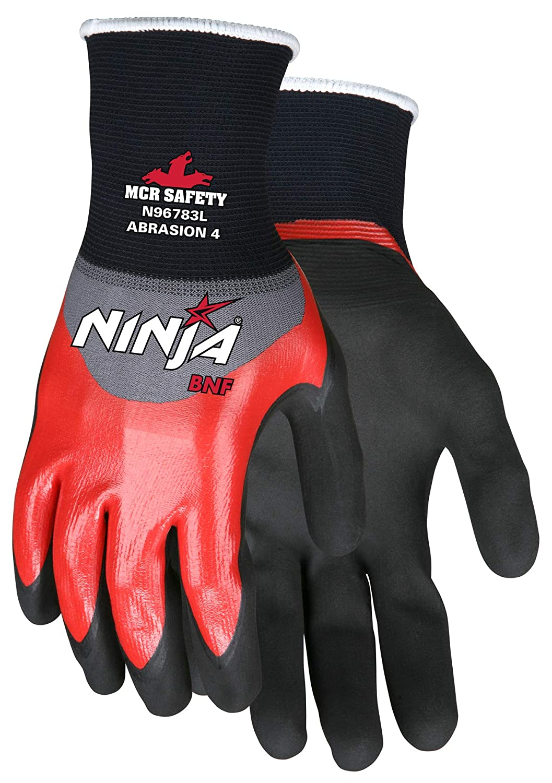 MCR Safety N96783L Ninja BNF Nitrile Gloves, ANSI Puncture 2 ...