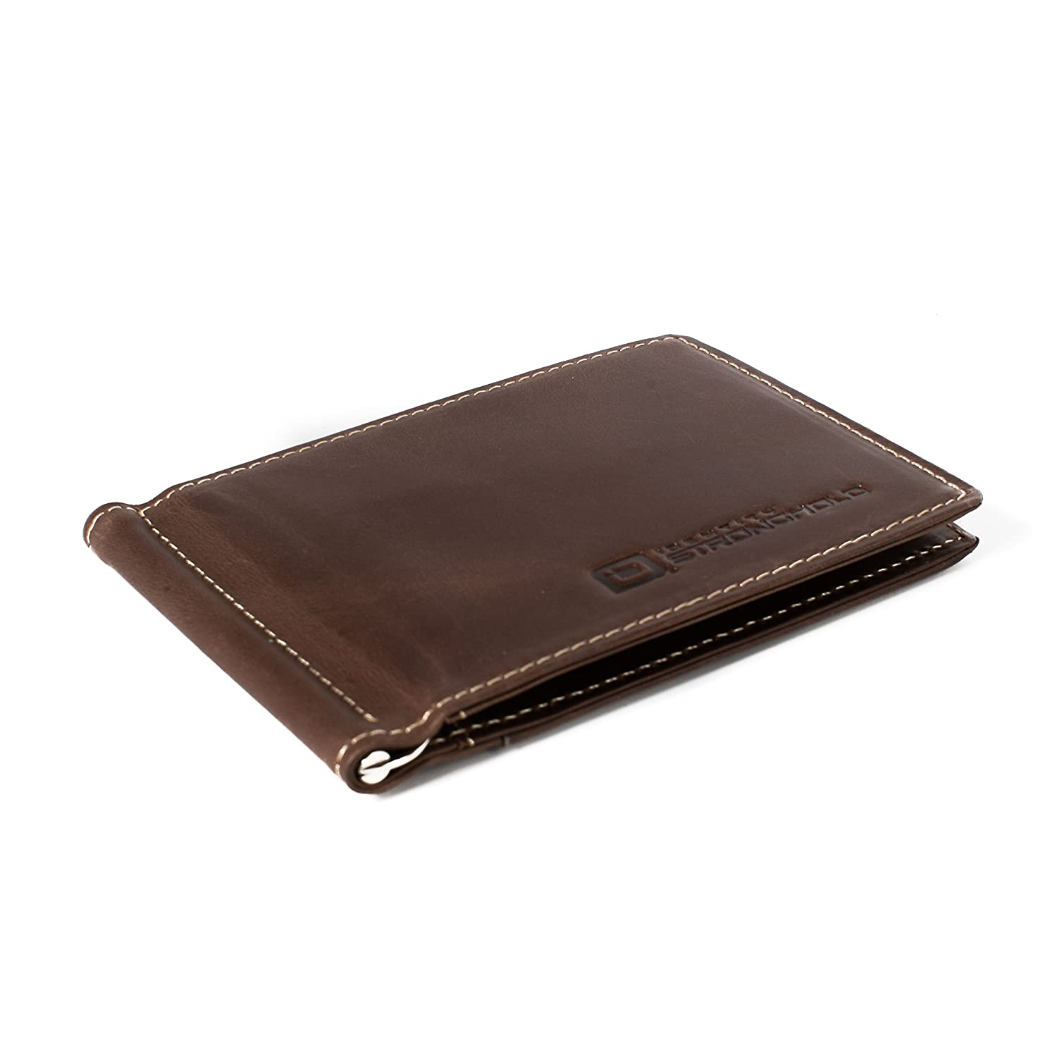 RFID Money Clip with ID - RFID Wallets with Excellent Quality Leather - Men's Protective Wallets - Minimalist Wallet (Brown) ID Stronghold 7022