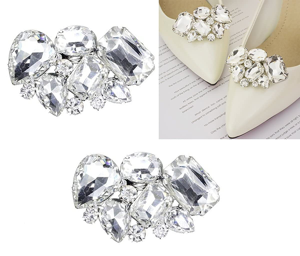 2PCS Elegant Rhinestone Crystal Shoe Clips Shoe Buckle Shoes Decoration Charms for Women Girls Party Bridal Wedding Fodattm